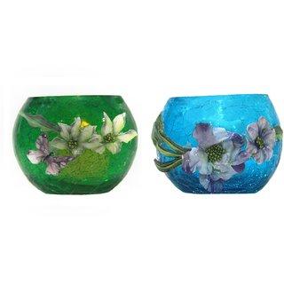 ARC EN CIEL Decorative + Lighting Table Diyas/Candle For Diwali - Green  Light Blue