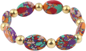 Pearlz Ocean Oval Shaped Mosaic Beads Stretchable Designer Bracelet For Women