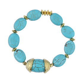 Pearlz Ocean Drum, Oval Shaped Mosaic Beads Stretchable Bracelet