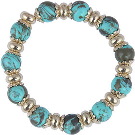 Pearlz Ocean Designer Round Shaped Mosaic Beads Stretchable Bracelet For Women