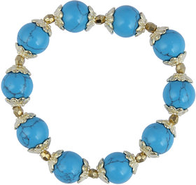Pearlz Ocean Designer Round Shaped Mosaic Beads Stretchable Bracelet For Girls