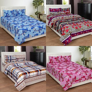 BSB Trendz 3D Printed Double Bedsheet With 2 Pillow Covers-(C4-434)