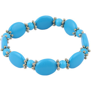 Pearlz Ocean Oval, Round Shaped Mosaic Beads Stretchable Bracelet