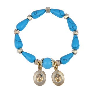 Pearlz Ocean Drop, Round Shaped Mosaic Beads Stretchable Bracelet