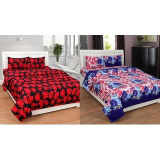BSB Trendz 3D Printed Double Bedsheet With 2 Pillow Covers (Buy 1 Get 1 Free)-(C2-422)