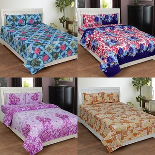 BSB Trendz 3D Printed Double Bedsheet With 2 Pillow Covers-(C4-436)