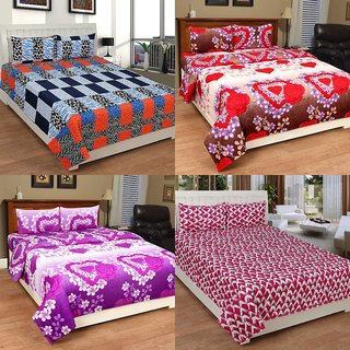 BSB Trendz 3D Printed Double Bedsheet With 2 Pillow Covers-(C4-450)