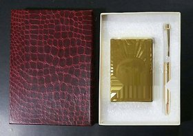 24karat gold foil playing card set with gold plated pen..