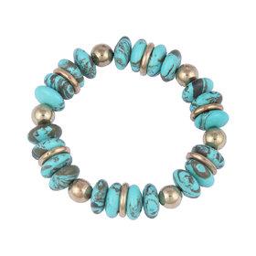 Pearlz Ocean Designer Roundel Shaped Mosaic Beads Stretchable Bracelet For Women