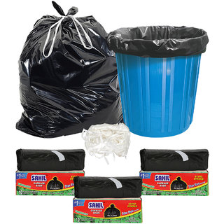 Sahil Pack of 3 Black Biodegradable Tie String Garbage Bags (30 pcs)