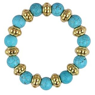 Pearlz Ocean Designer Round Shaped Mosaic Beads 7.5 Inches Stretchable Bracelet
