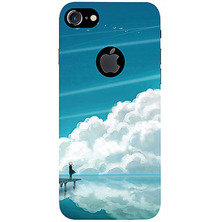 Casotec Clouds Pattern Print Design 3D Printed Hard Back Case Cover for Apple iPhone 7 (With Logo Cut)