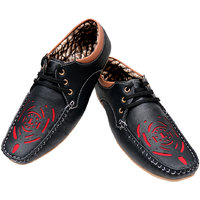 Leeford Men's Black And Tan Lace-up Casual Shoes