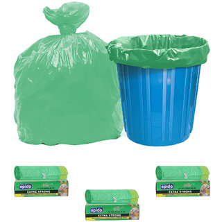 Epido Pack of 3 Green Biodegradable Drawstring Garbage Bags (30 pcs)