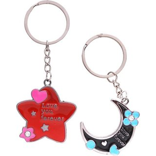 Exclusive Moon  Star Couple Key Chain Key Rings For Bike Or Car