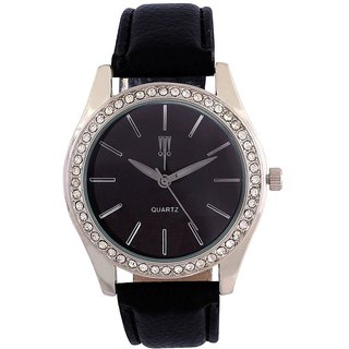 Tichino Round Dial Black Analog Watch For Women-Gi7314Wblackblack