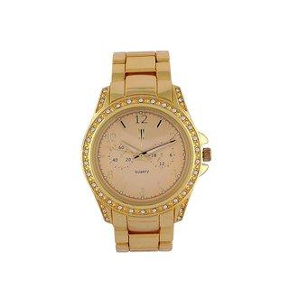 Tichino Round Dial Golden Analog Watch For Women-Gi7500Wgoldgolden