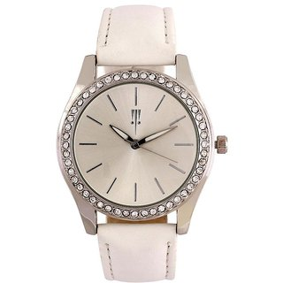 Tichino Round Dial White Analog Watch For Women-Gi7274Wsilverwhite