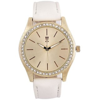 Tichino Round Dial White Analog Watch For Women-Gi7274Wgoldwhite