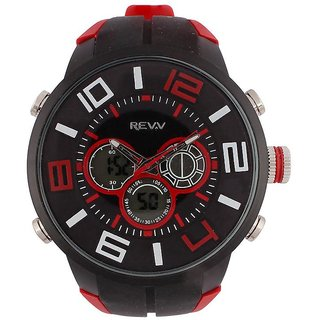 Revv Round Dial Black(Red) Analog-Dight For Men-Gi8200Wblackblackred