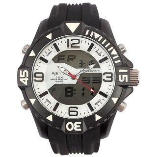 Revv Round Dial Black Analog-Dight For Men-Gi8204Wwhiteblack