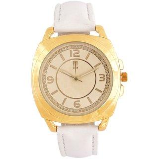 Tichino Round Dial White Analog Watch For Women-Gi7273Wgoldwhite
