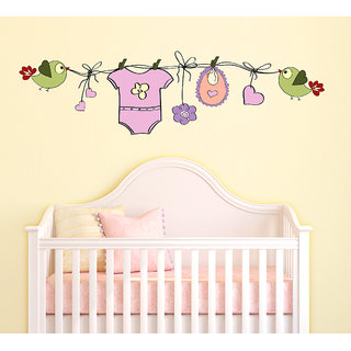 Wallstick  ' Birds With Baby Dress  ' Wall Sticker (Vinyl, 25 cm x 90 cm, Multicolor)-57-WL-0024