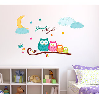 Wallstick  ' Good Night' Wall Sticker (Vinyl, 100 cm x 60 cm, Multicolor)-57-WL-0027