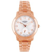 Rotary Round Dial Rose Gold Analog Watch For Women-Lb02