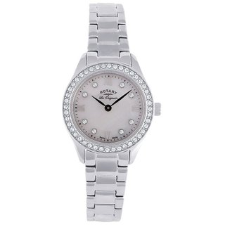 Rotary Round Dial Silver Analog Watch For Women-Lb9001041