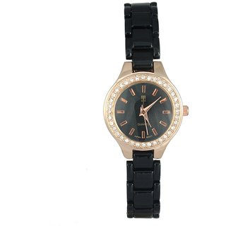 Tichino Round Dial Black Analog Watch For Women-T22Blackblack