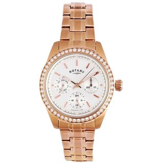 Rotary Round Dial Rose Gold Analog Watch For Women-Lb0016002