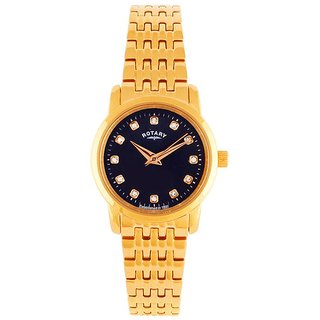 Rotary Round Dial Rose Gold Analog Watch For Women-Lb0246205
