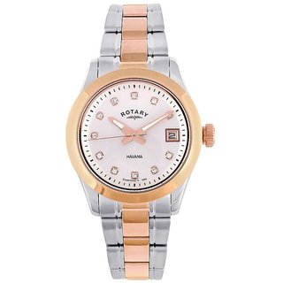 Rotary Round Dial Two Tone Analog Watch For Women-Lb0266202