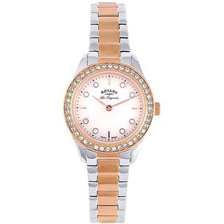 Rotary Round Dial Two Tone Analog Watch For Women-Lb9001341