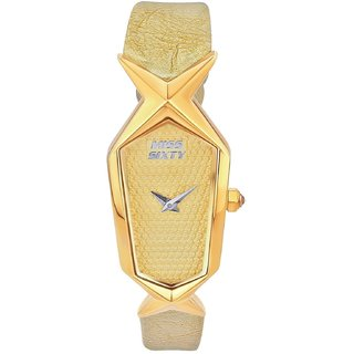 Miss Sixty Rectangle Dial Light Golden Analog Watch For Women-Scj002