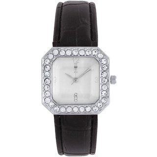 Tichino Square Dial Black Analog Watch For Women-Gi7505Wwhiteblack
