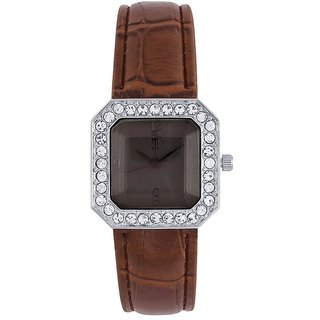 Tichino Square Dial Brown Analog Watch For Women-Gi7505Wgreenbrown