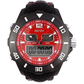 Revv Round Dial Black Analog-Dight For Men-Gi8206Wredblack