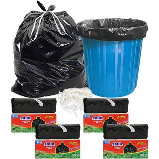 Sahil Pack of 4 Black Biodegradable Tie String Garbage Bags (120 pcs)