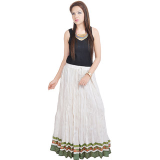Rajasthani Designer White Cotton Long Skirt