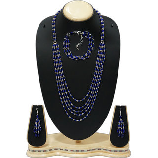 Urban Trendz  Multistranded Beaded Necklace set with earrings  Bracelet UT10187