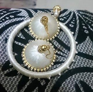 Silk Thread Bangle White Colour
