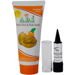 ADS Premium Series Walnut Face  Body Scrub Pack of 1 And Free Kajal