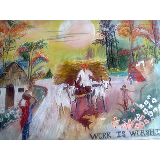 An Authentic Village Scenery Acrylic Color Painting