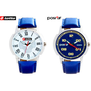 Combo Lotto Watch + Positif Analog Round Casual Watche For Men's W-003