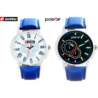 COMBO Lotto Watch + Positif Analog Round Casual Watche For Men W-006