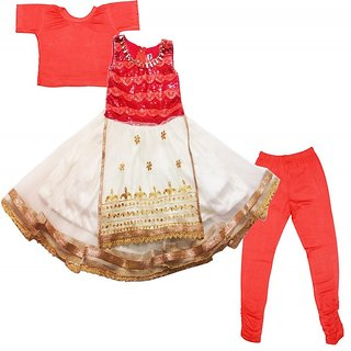 S. Nawaz Girls' Net  Cotton Clothing Set Ethnic Wear Frock Suit Colour Red and Cream (Age 1-2 Years, 2-3 Years, 3-4 Yea
