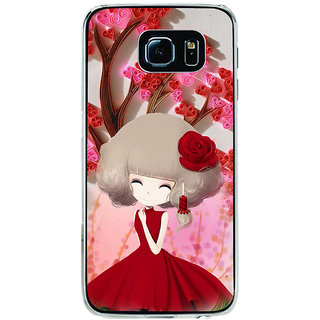 ifasho Girl  with Flower in Hair Back Case Cover for Samsung Galaxy S6