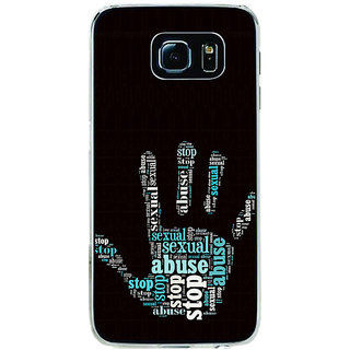 ifasho Modern Art Design  words in palm stop abuse Back Case Cover for Samsung Galaxy S6 Edge
